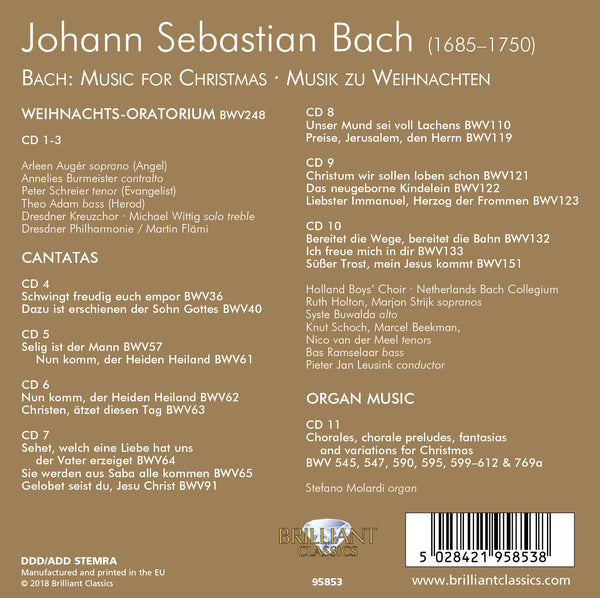 BACH: MUSIC FOR CHRISTMAS, VOLUME 1 (11 CDS)
