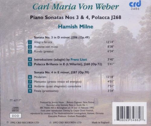 Weber: Piano Sonata No. 3 in D minor, Op.49 and Other Works - Hamish Milne