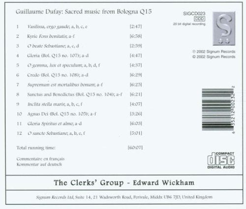 Dufay: Sacred Music from Bologna - The Clerks' Group