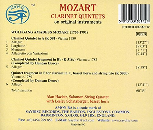Mozart: Clarinet Quintet and Quintet Fragments - Becker, Salomon String Quartet