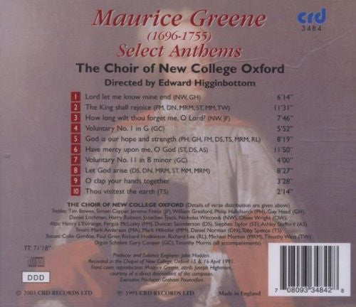 Greene: Select Anthems - Higginbottom, Choir of New College, Oxford
