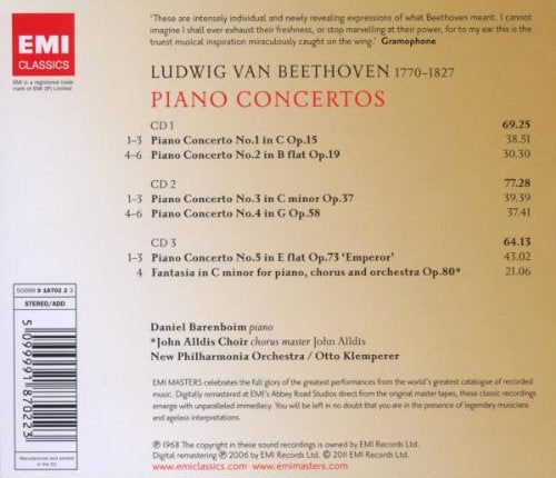 BEETHOVEN: COMPLETE PIANO CTOS - NEW PHILHARMONIA, BARENBOIM, KLEMPERER