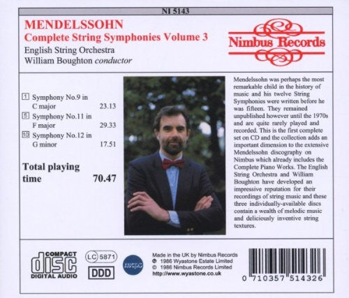 Mendelssohn: String Symphonies Vol. 3 - English String Orchestra, William Boughton