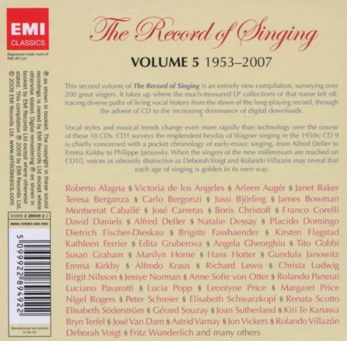 THE RECORD OF SINGING VOL. 5 - FROM LP TO DIGITAL ERA