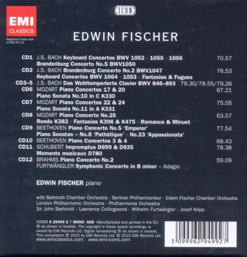 Edwin Fischer: Icon - Piano Playing From The Heart (12 CDs)