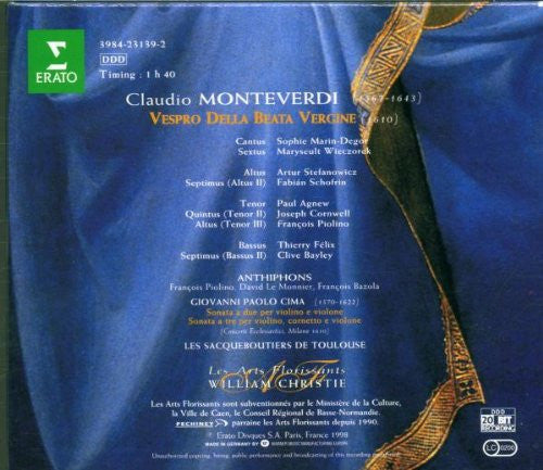 Monteverdi: VESPRO DELLA BEATA VERGINE (1610), ANTIPHONS - William Christie, Les Arts Florrisants