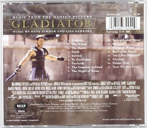 GLADIATOR - MUSIC FROM THE MOTION PICTURE: THE LYNDHURST ORCHESTRA, GAVIN  GREENAWAY, HANS ZIMMER