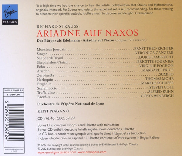 STRAUSS, R: ARIADNE AUF NAXOS (1912 VERSION) - NAGANO, PRICE, JO (3 CDS)