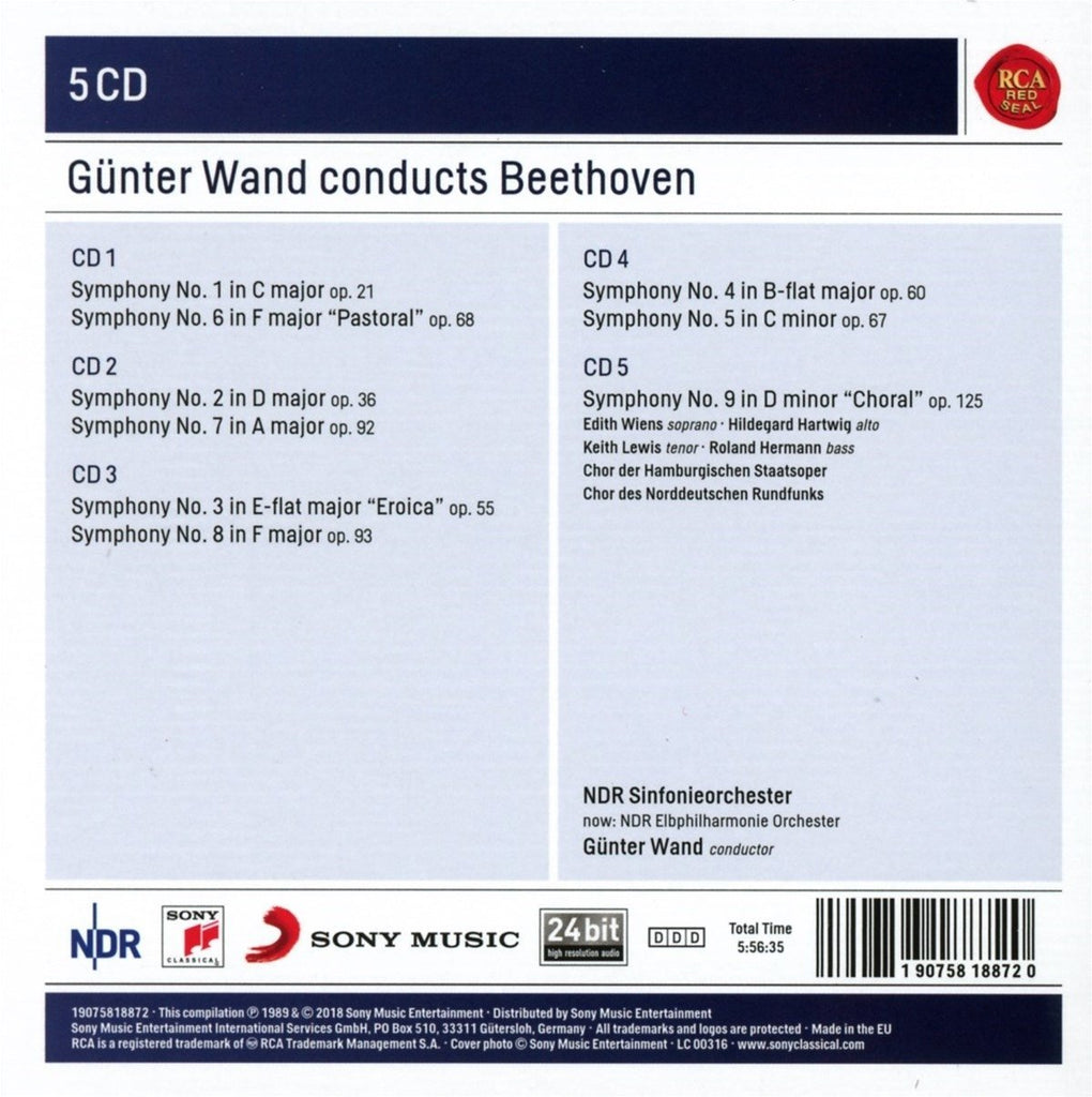Günter Wand Conducts Beethoven Symphonies 1-9 - 5 CDS (Sony Classical  Masters)