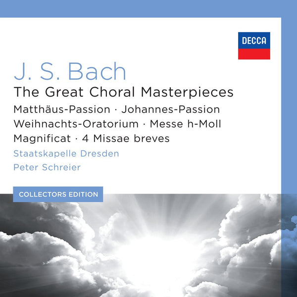 BACH: THE GREAT CHORAL MASTERPIECES - RUNDFUNKCHOR LEIPZIG, STAATSKAPELLE DRESDEN, PETER SCHREIER (12 CDS)