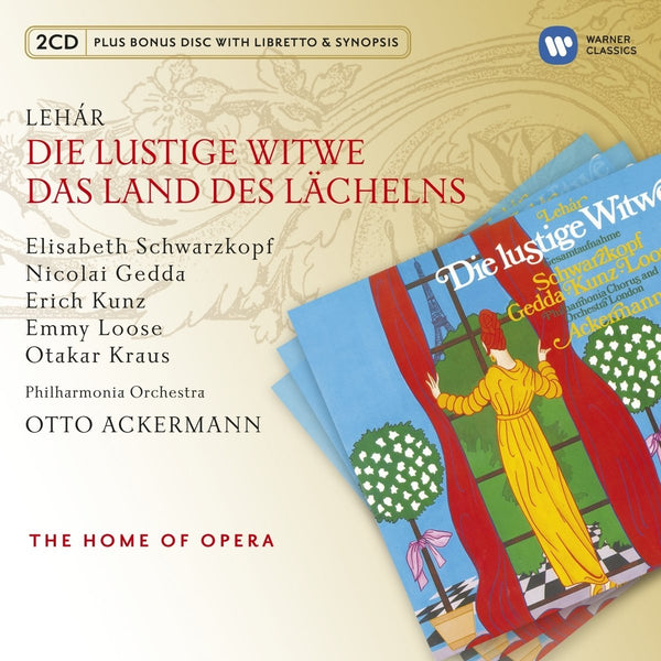 LEHAR: MERRY WIDOW & LAND OF SMILES - KUNZ, SCHWARZKOPF, GEDDA, ACKERMAN (3 CDS)