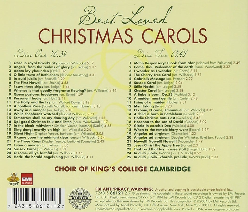 BEST LOVED CHRISTMAS CAROLS - KING\'S COLLEGE CHOIR (2 CDS) – Classic ...