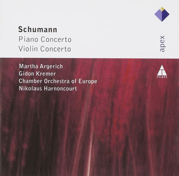 SCHUMANN: PIANO CONCERTO OP. 54; VIOLIN CONCERTO - ARGERICH; KREMER; HARNONCOURT; CHAMBER ORCHESTRA OF EUROPE