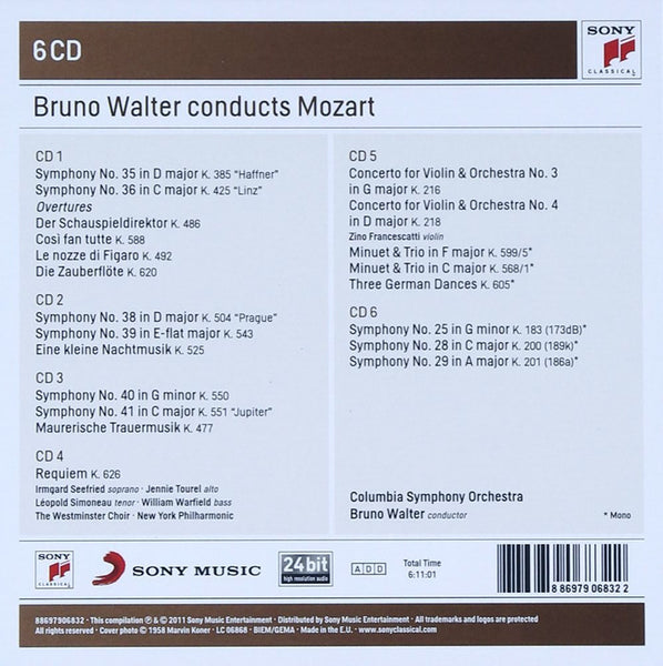 BRUNO WALTER CONDUCTS MOZART (6 CDS)