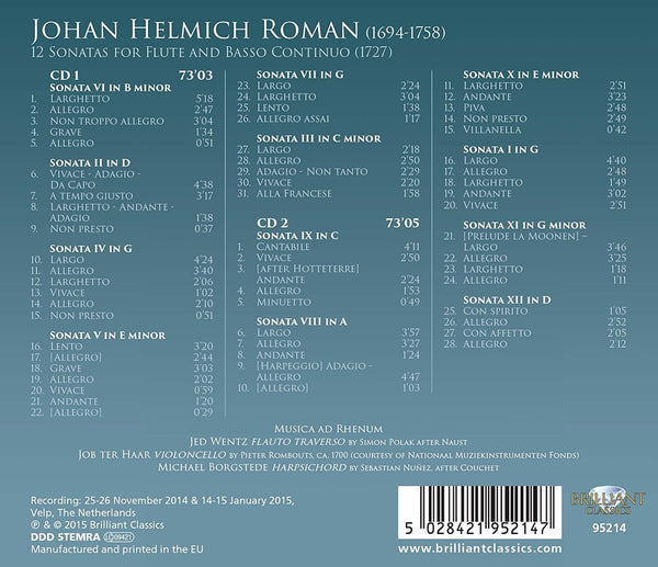 Roman: 12 Sonatas for Flute and B.C.
