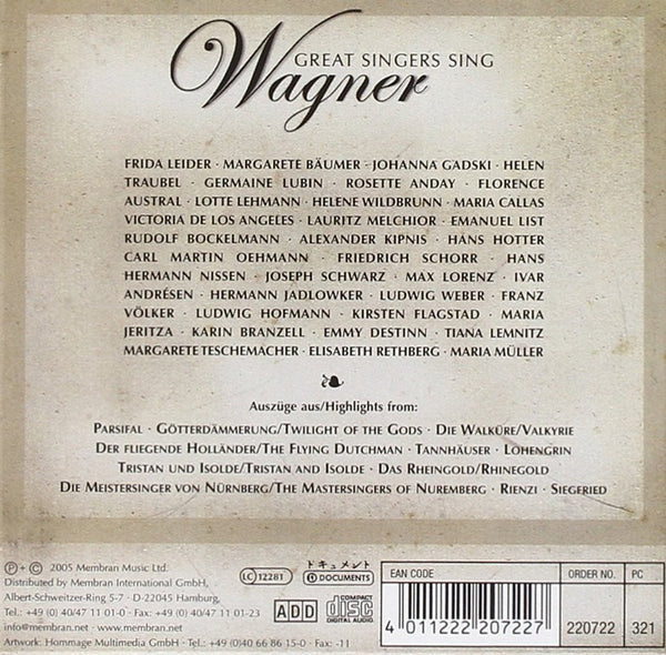 GREAT SINGERS SING WAGNER: Maria Callas, Helen Traubel, Lotte Lehmann, Lauritz Melchior and More (10 CDs)