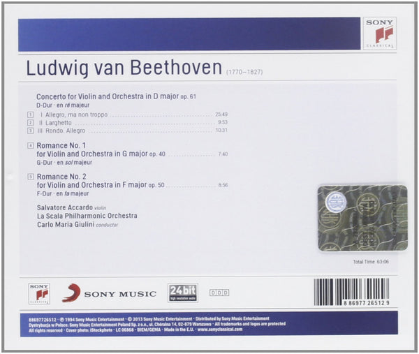 BEETHOVEN: VIOLIN CONCERTO; ROMANCES FOR VIOLIN AND ORCHESTRA - ACCARDO, GIULINI, LONDON PHILHARMONIC