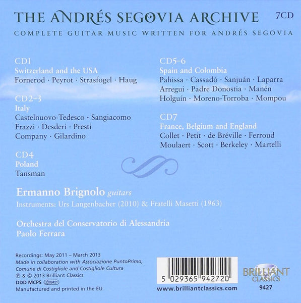 ANDRES SEGOVIA ARCHIVE: COMPLETE GUITAR MUSIC WRITTEN BY ANDRES SEGOVIA (7 CDS)