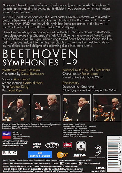 BEETHOVEN: 9 SYMPHONIES - BARENBOIM, EAST-WEST ORCHESTRA (BLU-RAY DVD)