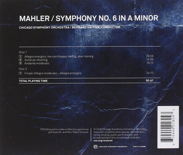 MAHLER: Symphony No.6 in A minor - Chicago Symphony Orchestra, Bernard Haitink (2 CDs)