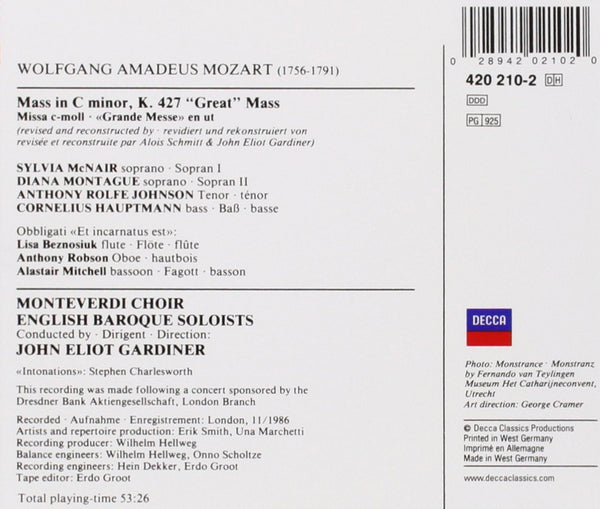"Mozart: Mass in C Minor, K. 427 ""Great"" - Gardiner, Monteverdi Choir, English Baroque Soloists"