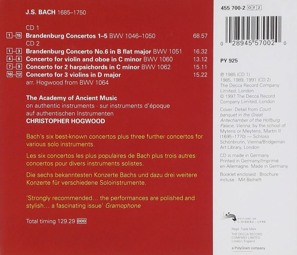 BACH, J.S.: THE BRANDENBURG CONCERTOS - ACADEMY OF ANCIENT MUSIC, CHRISTOPHER HOGWOOD