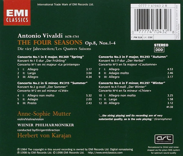 VIVALDI: THE FOUR SEASONS - MUTTER; KARAJAN