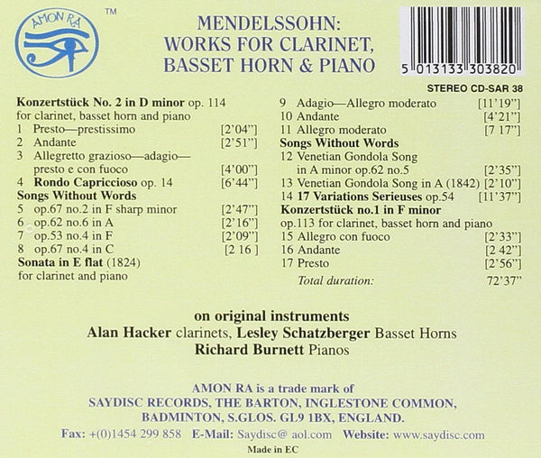 Mendelssohn: Works for Clarinet, Basset Horn & Piano - Richard Burnett, Alan Hacker, Lesley Schatzberger