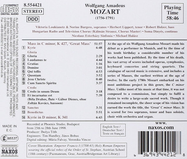 "Mozart: Mass in C minor, K427 ""Great Mass""-Kyrie in D minor, K 341-Halasz"
