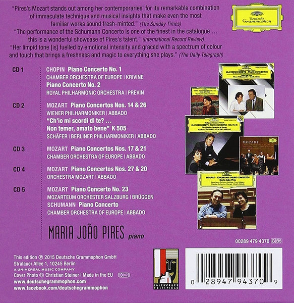 MARIA JOAO PIRES: THE COMPLETE CONCERTO RECORDINGS ON DETUSCHE GRAMMOPHON (5 CDS)