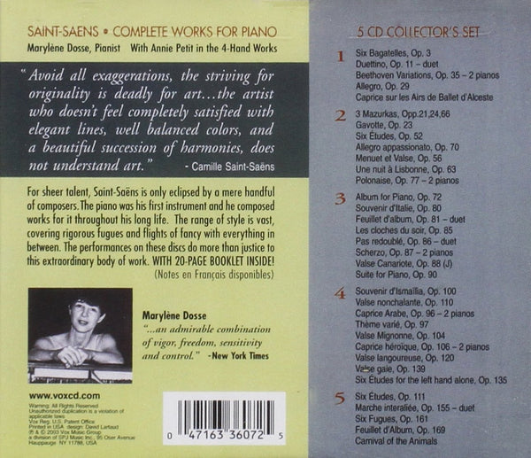 Saint-Saens: Complete Works for Piano (5CDs)