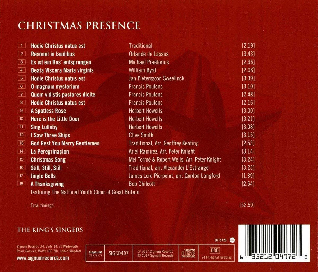 Christmas Presence: The King\'s Singers Live from Kings College ...
