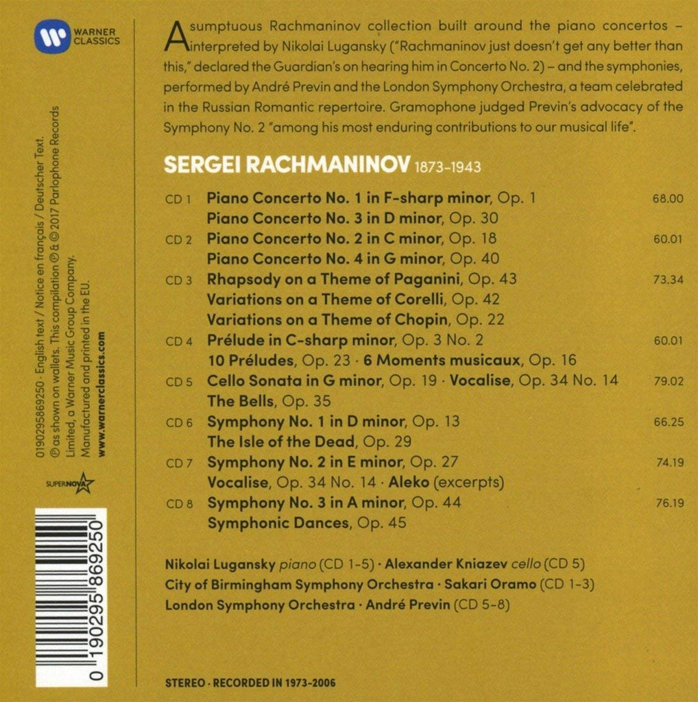 ... Rachmaninov: The Four Piano Concertos, Piano Works, Three Symphonies  and Orchestral Works (