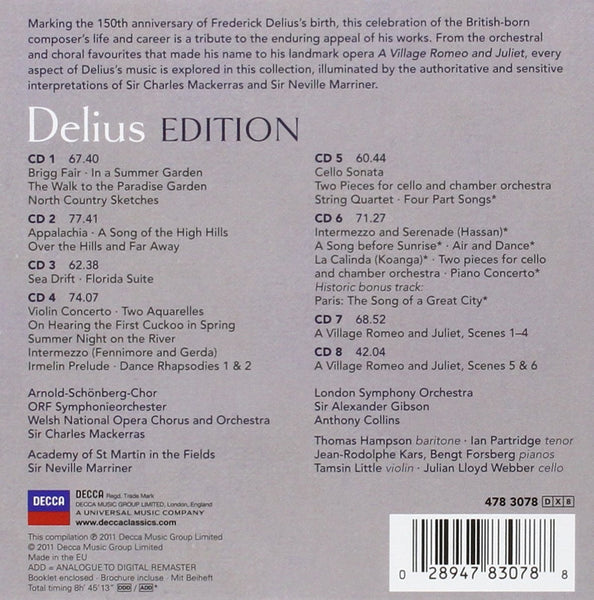 Delius: The Delius Edition - Sir Charles Mackerras, Neville Marriner (8 CDs)