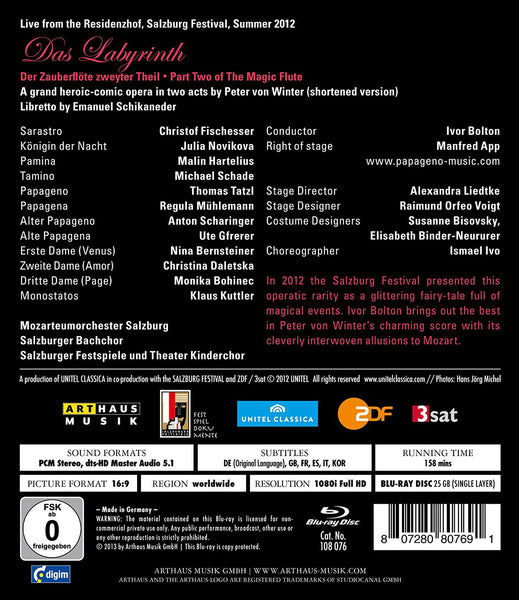 VON WINTER: DAS LABYRINTH (PART TWO OF THE MAGIC FLUTE - BLU-RAY) - FISCHESSER; NOVIKOVA; HARTELIUS; SCHADE; MOZARTEUMORCHESTER SALZBURG; SALZBURGER BACHCHOR;  BOLTON; LIEDTKE