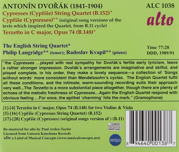 Dvorak: Cyprise (Cypresses) for String Quartet; Terzetto in C maj, Op74; Cyprise (original song versions) - English String Quartet, Landridge