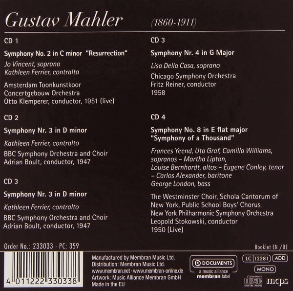 MAHLER, GUSTAV: Vocal Symphonies (4CD SET)