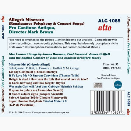 Allegri: Miserere; Renaissance Polyphony & Consort Songs - Pro Cantione Antiqua