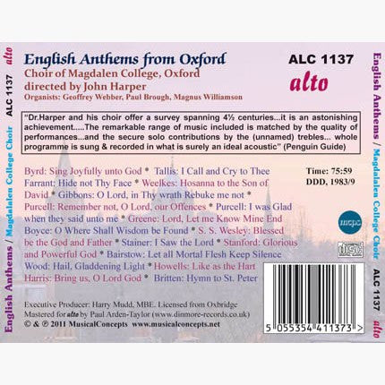 English Anthems from Oxford (Byrd to Britten) - Choir of Magdalen College Oxford