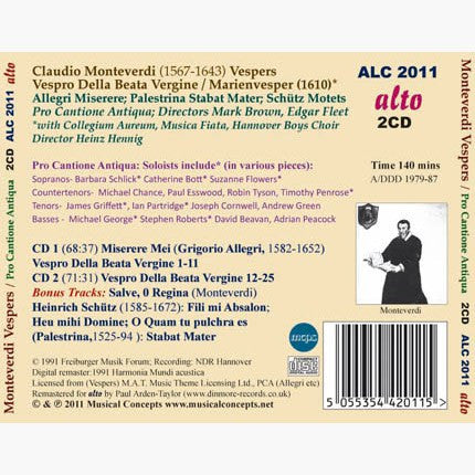MONTEVERDI: Vespers of 1610 & Other Works - Pro Cantione Antiqua (2 CDs)