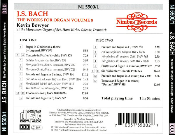 Bach: The Complete Works for Organ, Volume 8 - Bowyer (2 CDs)