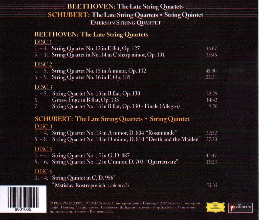 Beethoven: The Late String Quartets/Schubert: The Last 4 String Quartets, Quintet in C - Emerson String Quartet, Mstislav Rostropovich (Exclusive 6 CD Set)