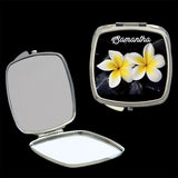Personalised Mirror Compact with 2 Yellow and white frangipani, make up mirror square, heart, round