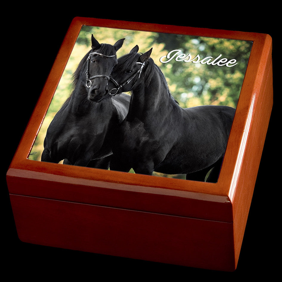 Personalised Black Horses Love Wooden Jewellery Box, Valentines Day Gift