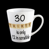 30th birthday scrabble coffee mug