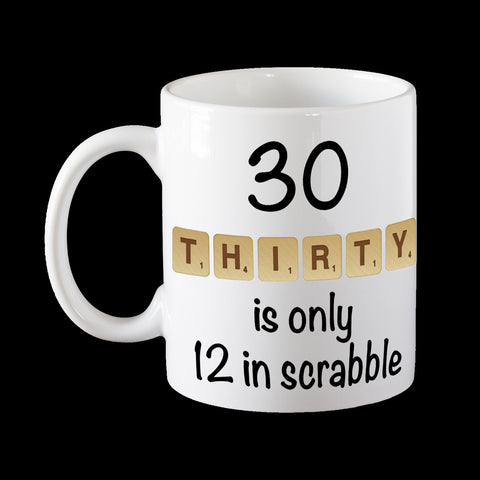 30th birthday scrabble mug