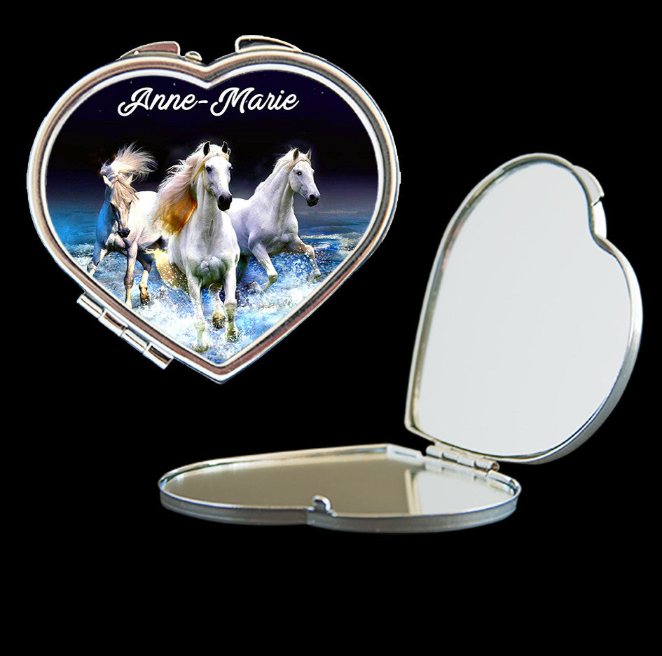 Personalised Mirror Compact with 3 horses running, make up mirror square, heart, round