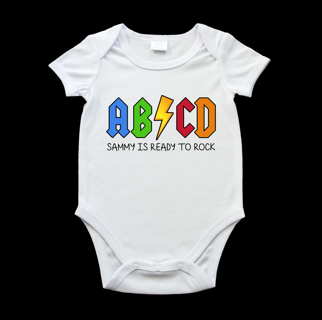 personalised funny onesie, born to rock ABCD, ACDC gag onesie