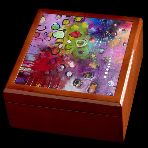 Abstract art jewellery box personalised