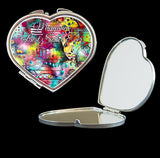 Personalised Mirror Compact with colourful abstract art make up mirror square, heart, round